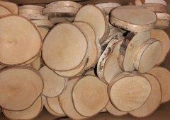 PLACKY - Dřevěná kolečka s březovou kůrou 6-9cm