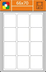 Samolepka papírová A4 / 66x70mm - barevná - DOPRODEJ