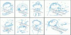 Sada zimních pohlednic (8 ks)