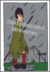 V dešti (barevná pohlednice)